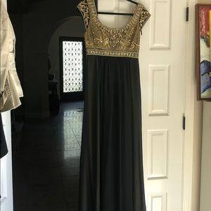 Long black gold and chiffon beaded dress